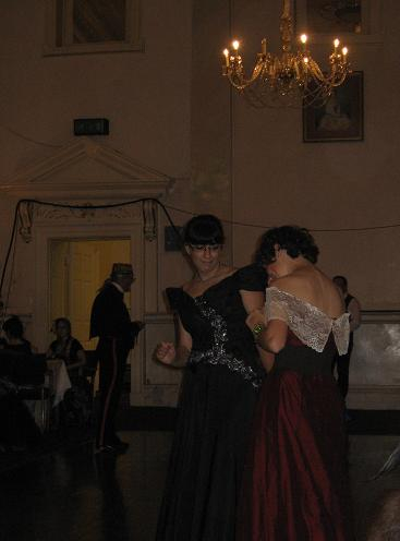 The girls in gowns getting down