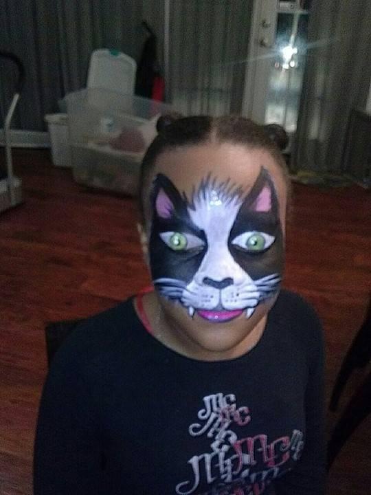 Black Kitty Face Painting by Atlanta Face Painter Frances Muslar