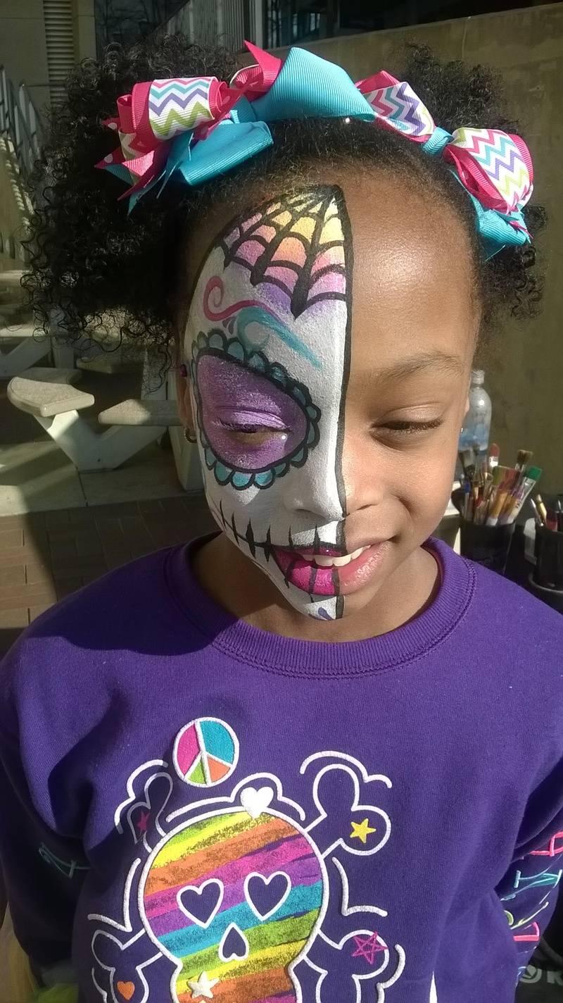 Half Dia De Los Muerto Monster High Face Painting by Atlanta Face Painter Frances Muslar