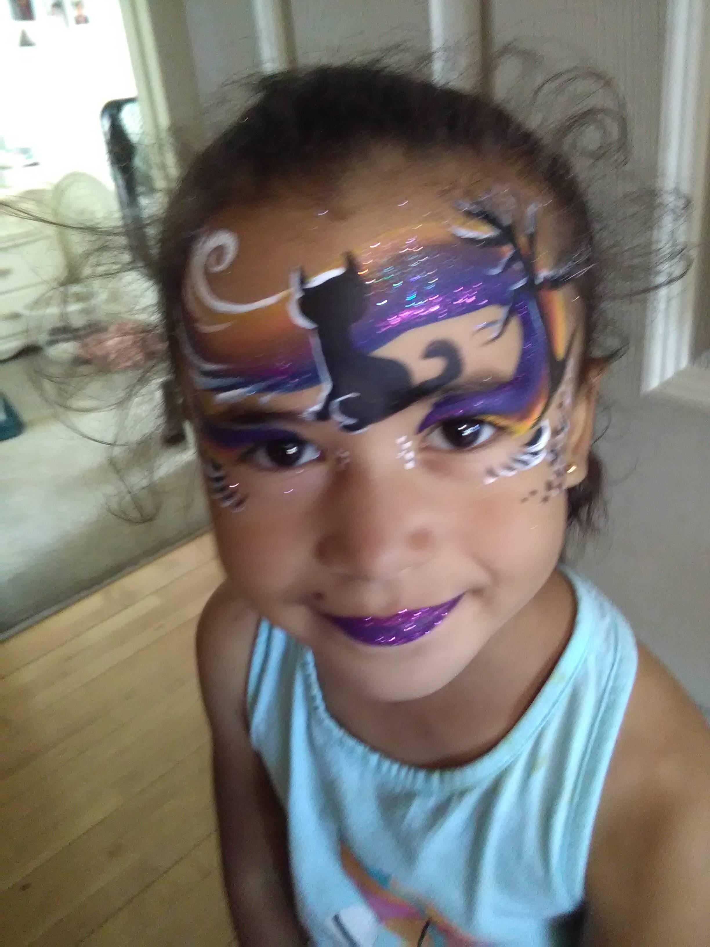Halloween Black cat Mask face paint
