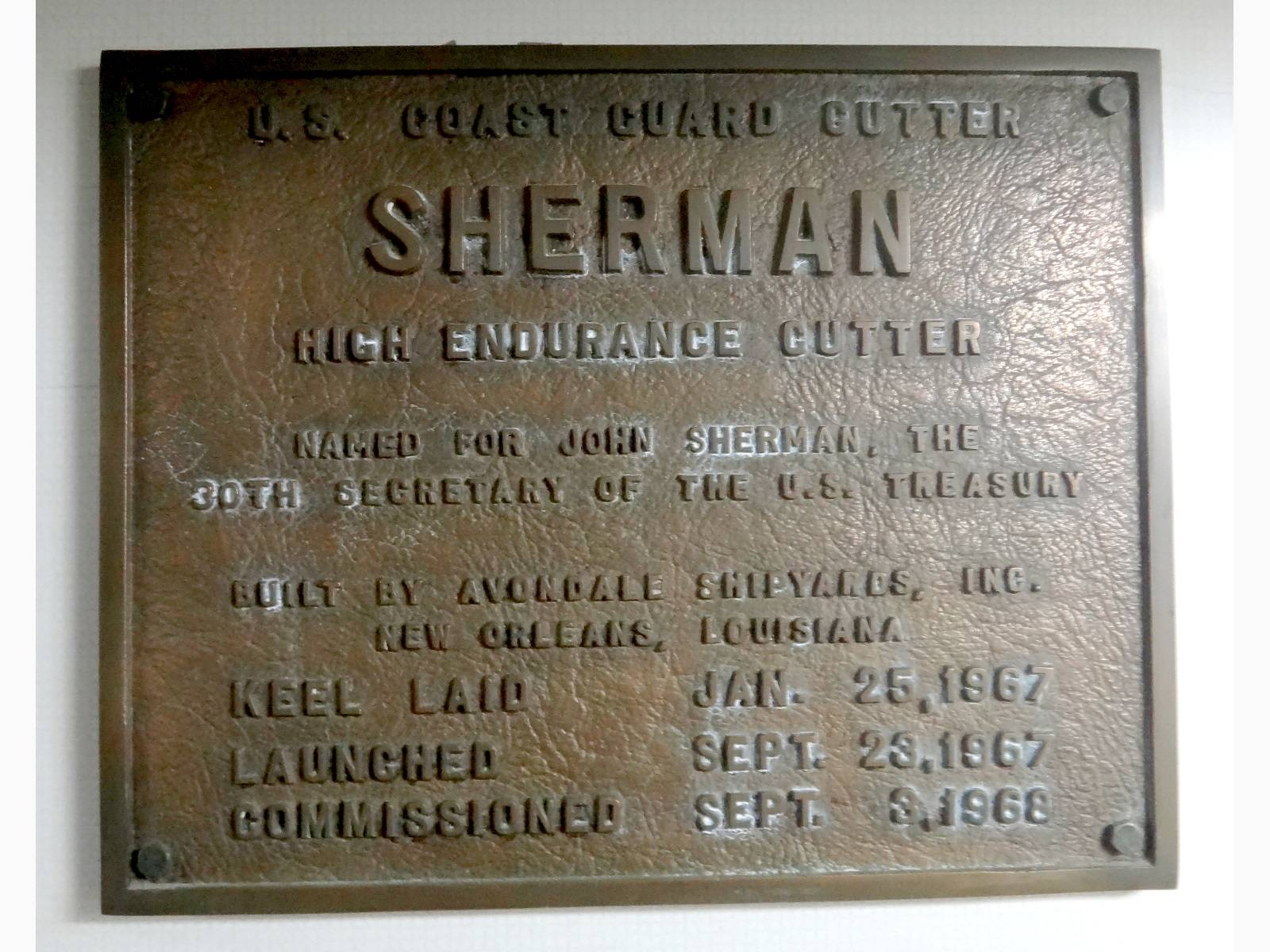 The Sherman's 1968 Commissioning Plaque