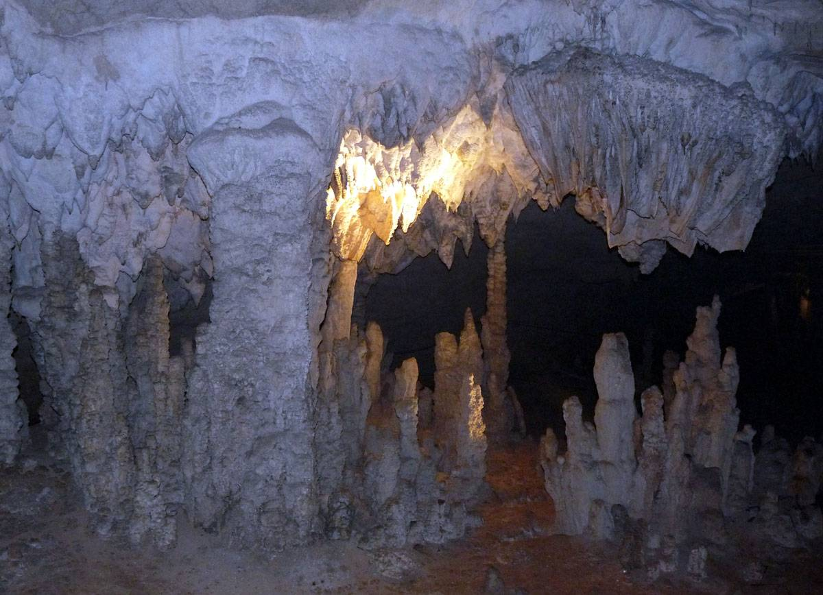 inside a large cave