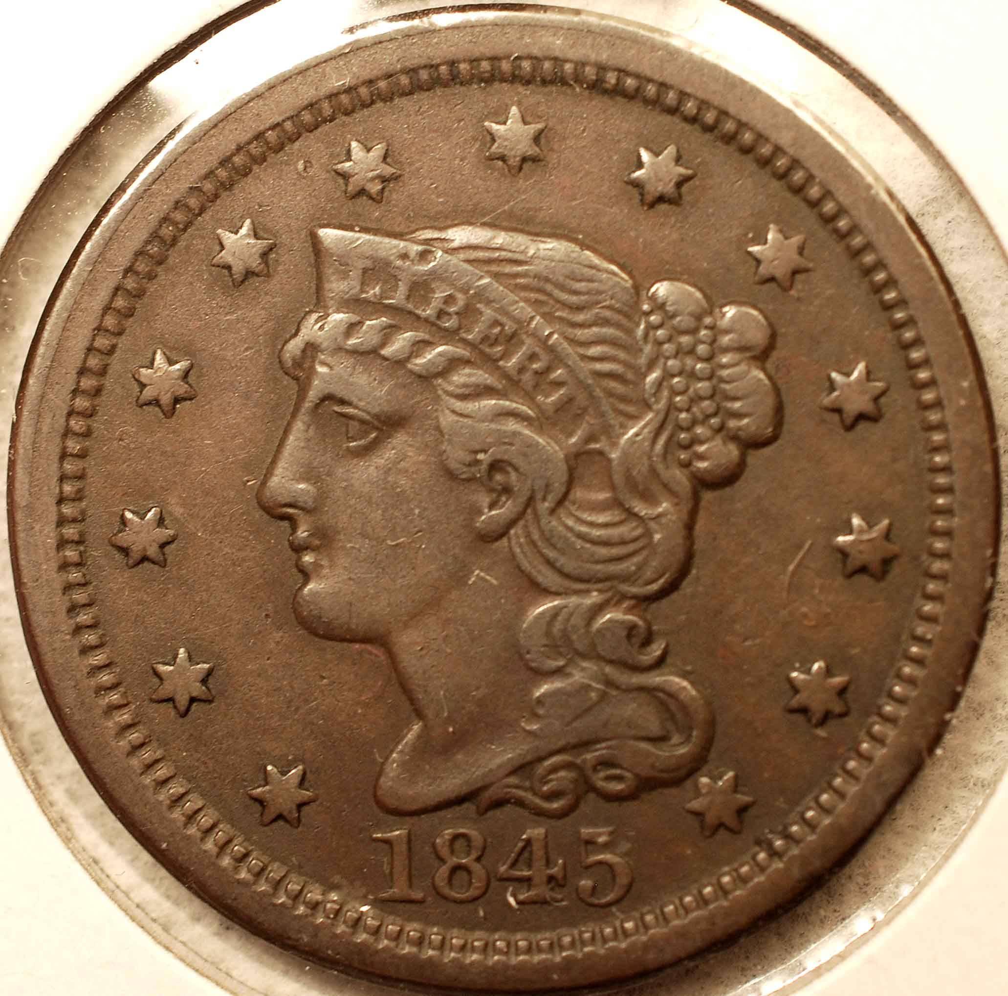 1845 Large Cent EF Obverse