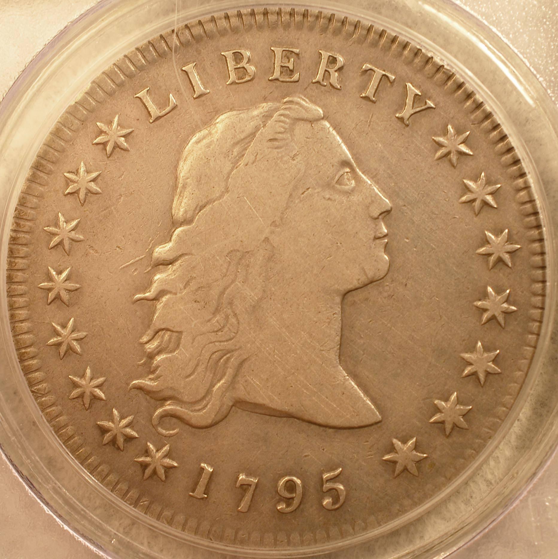 1795 Flowing Hair Dollar 3 Leaves Obverse