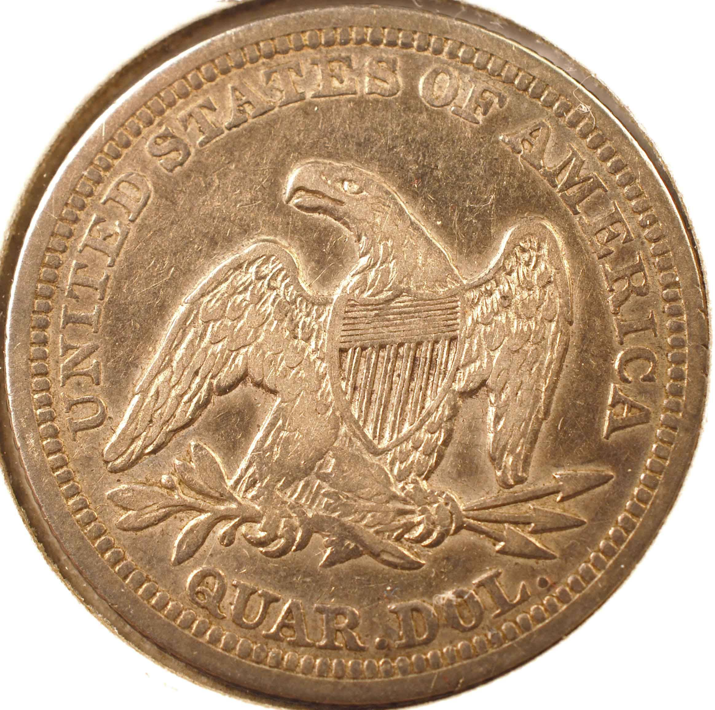 1856 Seated Liberty Quarter, XF Reverse
