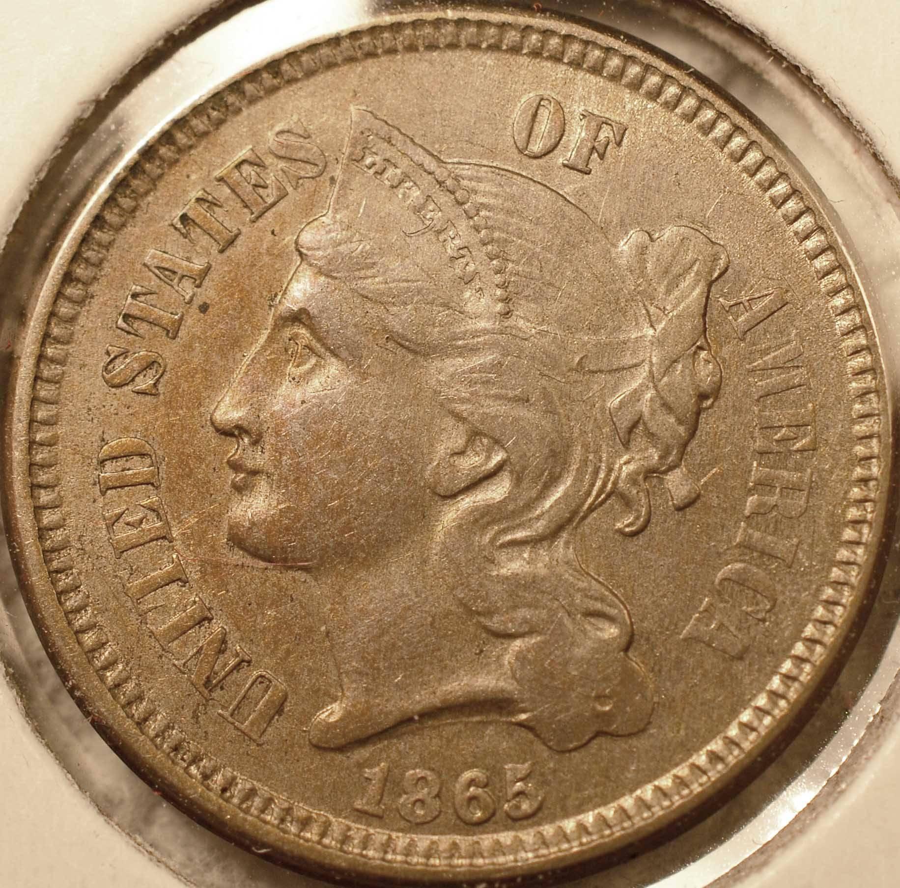 1865 3-Cent Nickel, AU (obverse)