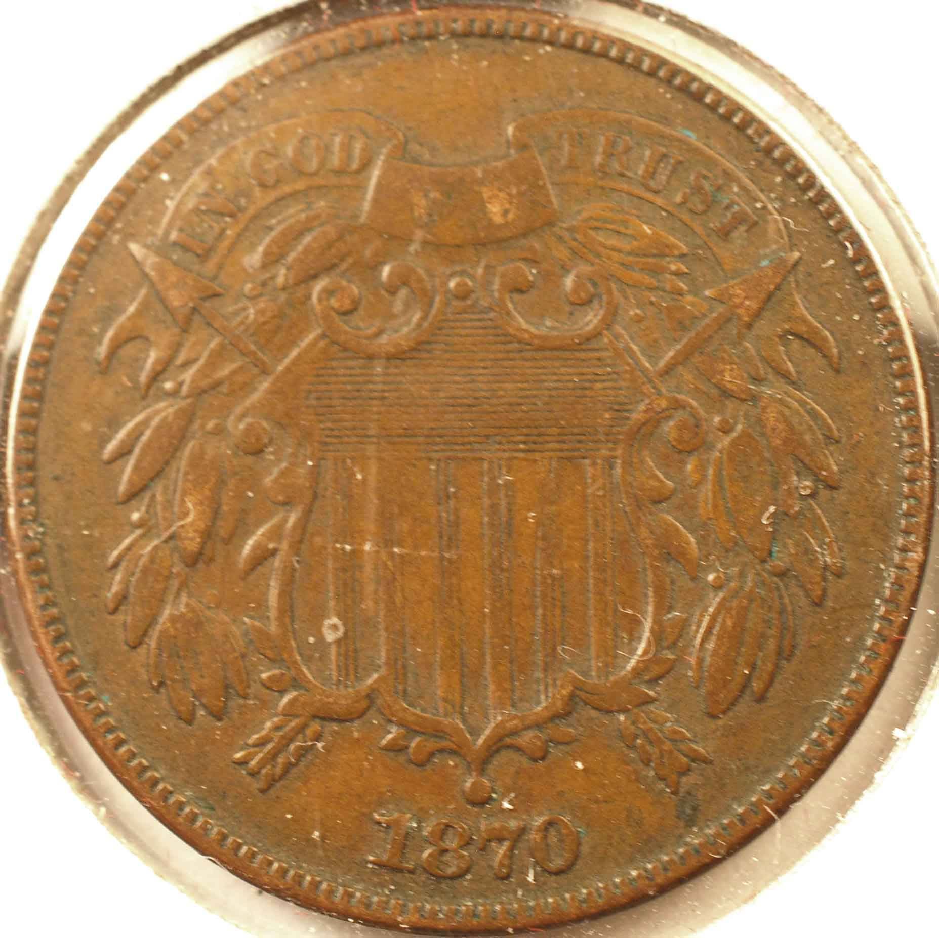 1870 Two-Cent Piece, XF Obverse