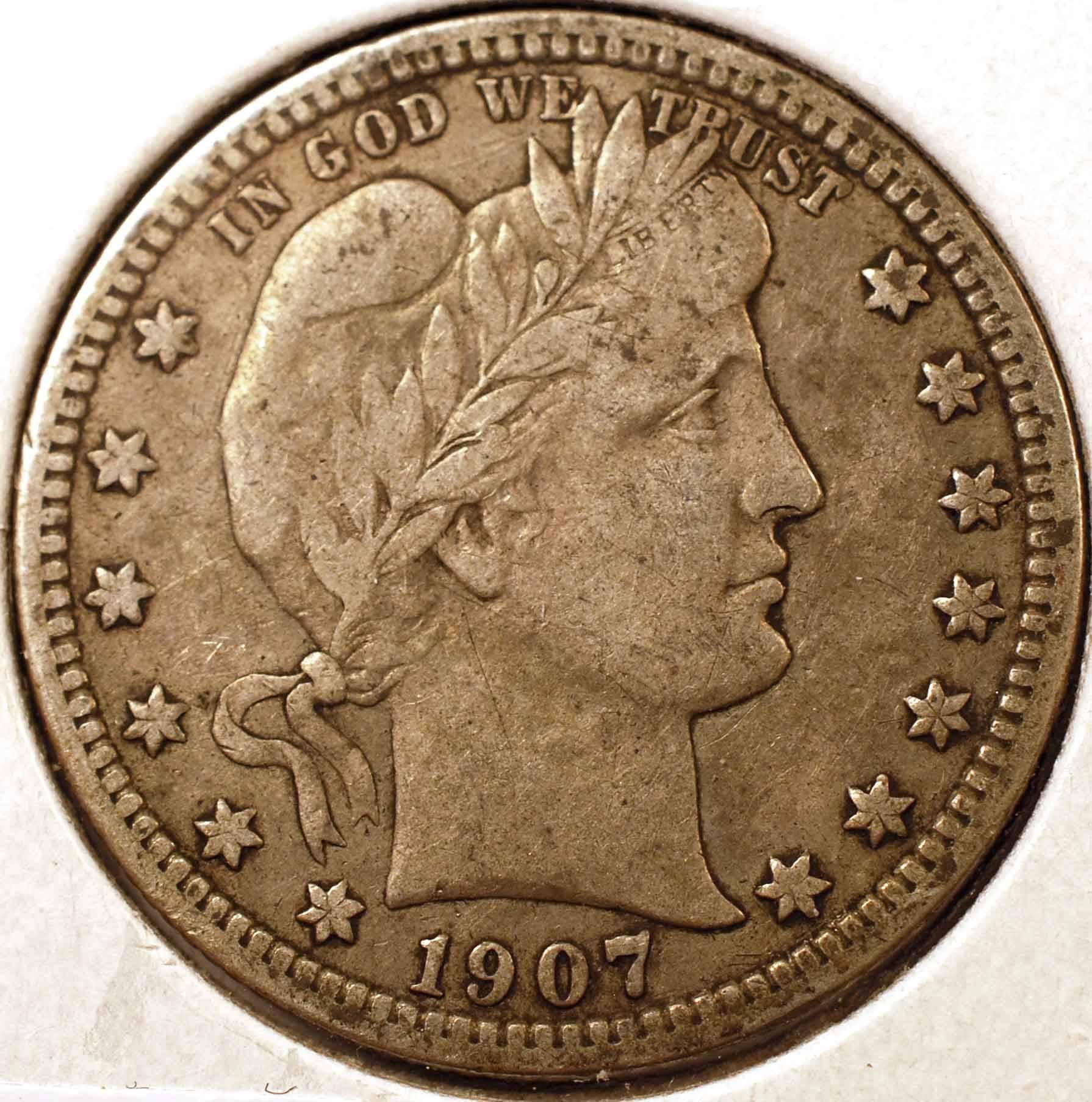 1907-S Barber Quarter VF Obverse