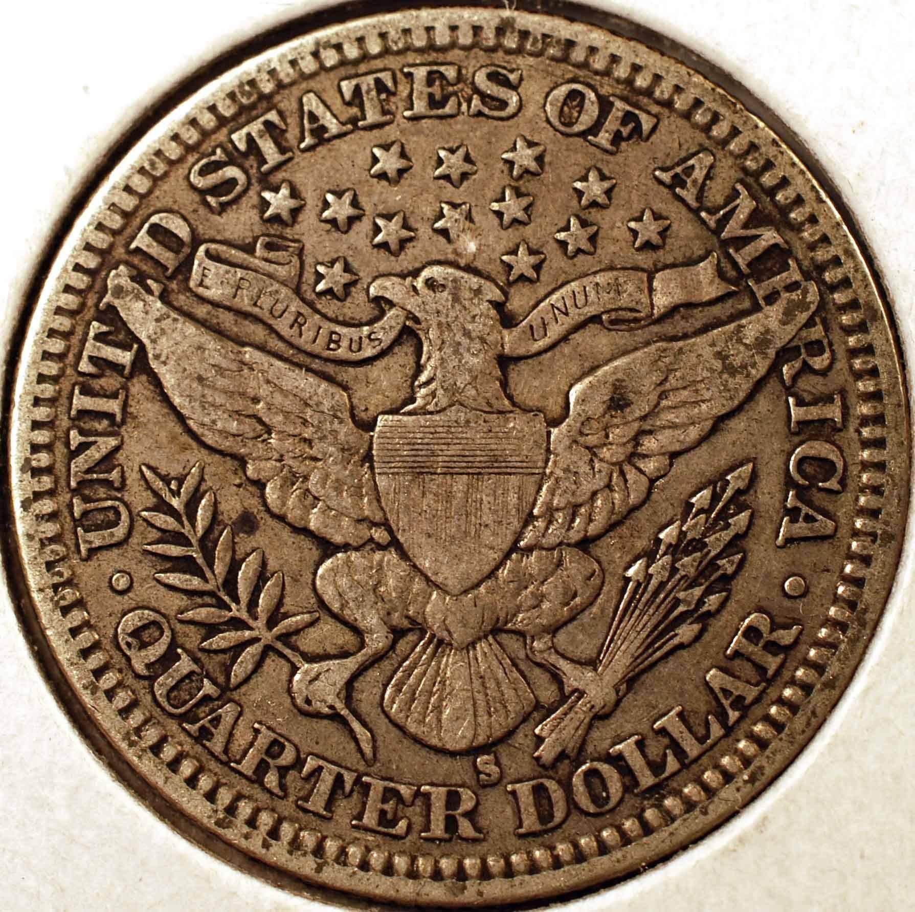 1907-S Barber Quarter VF Reverse