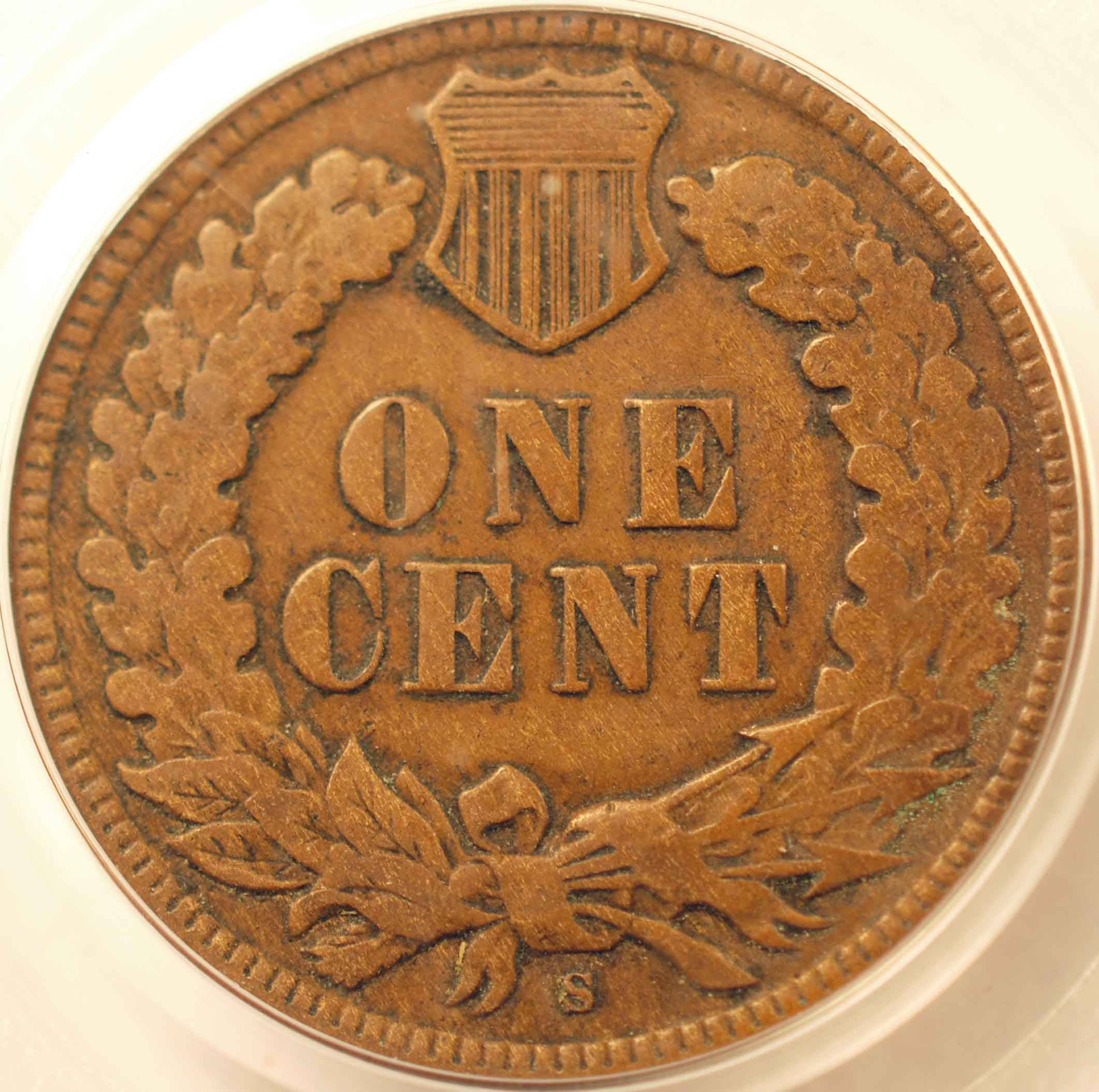 1908-S Indian Cent PCGS F15 Reverse