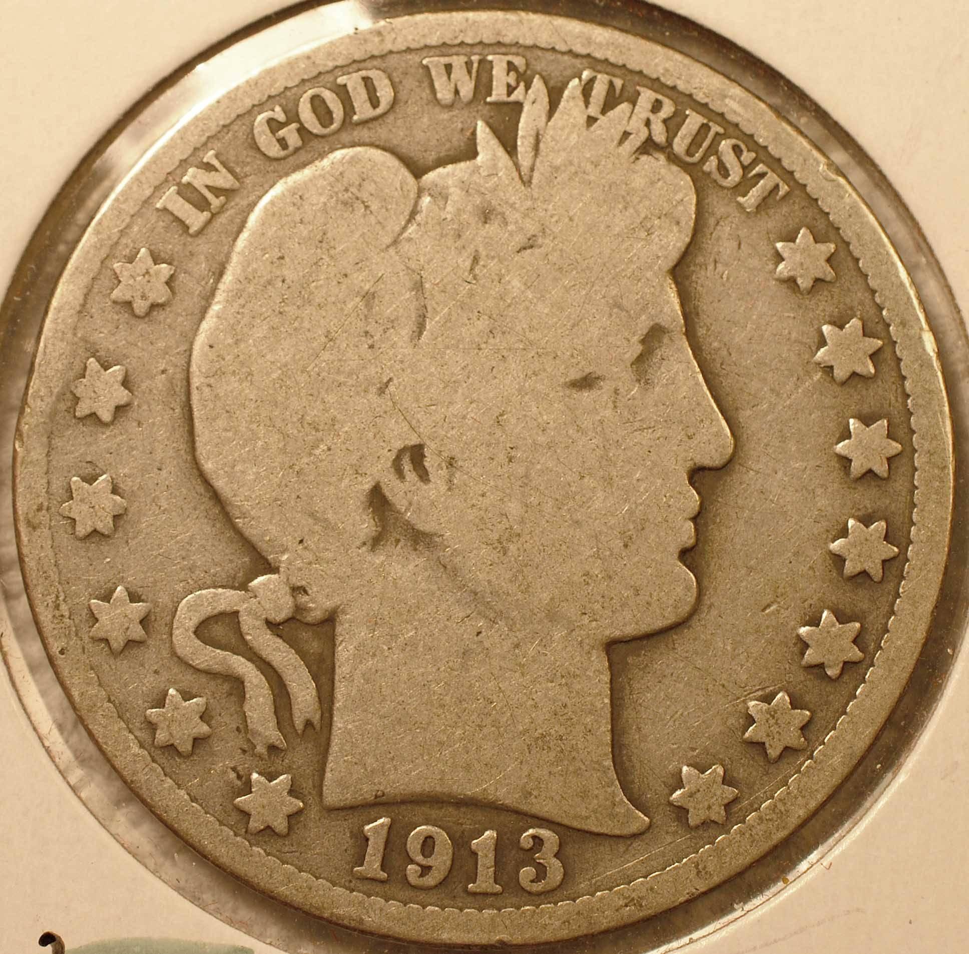 1913 Barber Half Dollar Good (obverse)
