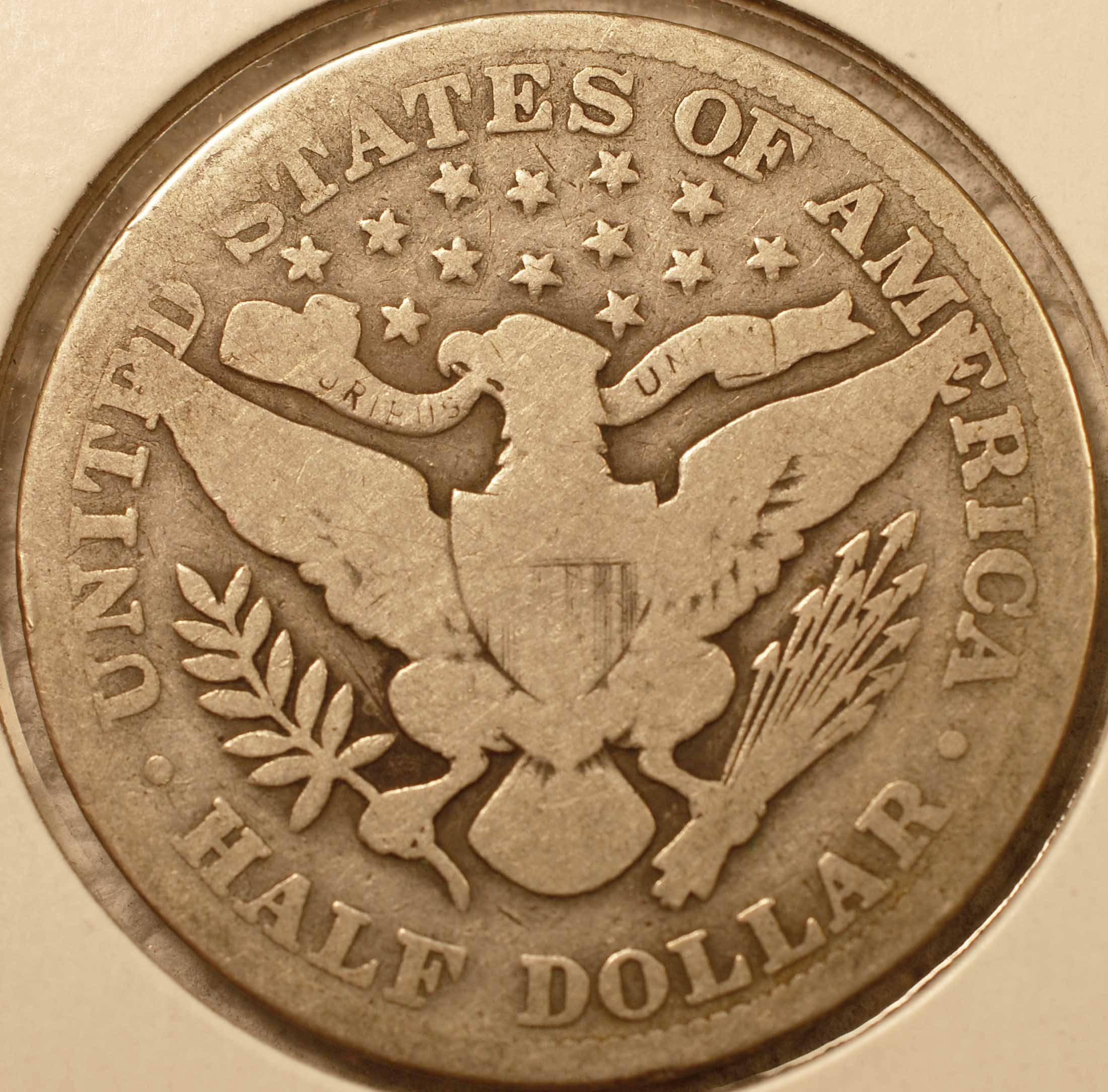 1913 Barber Half Dollar Good (reverse)