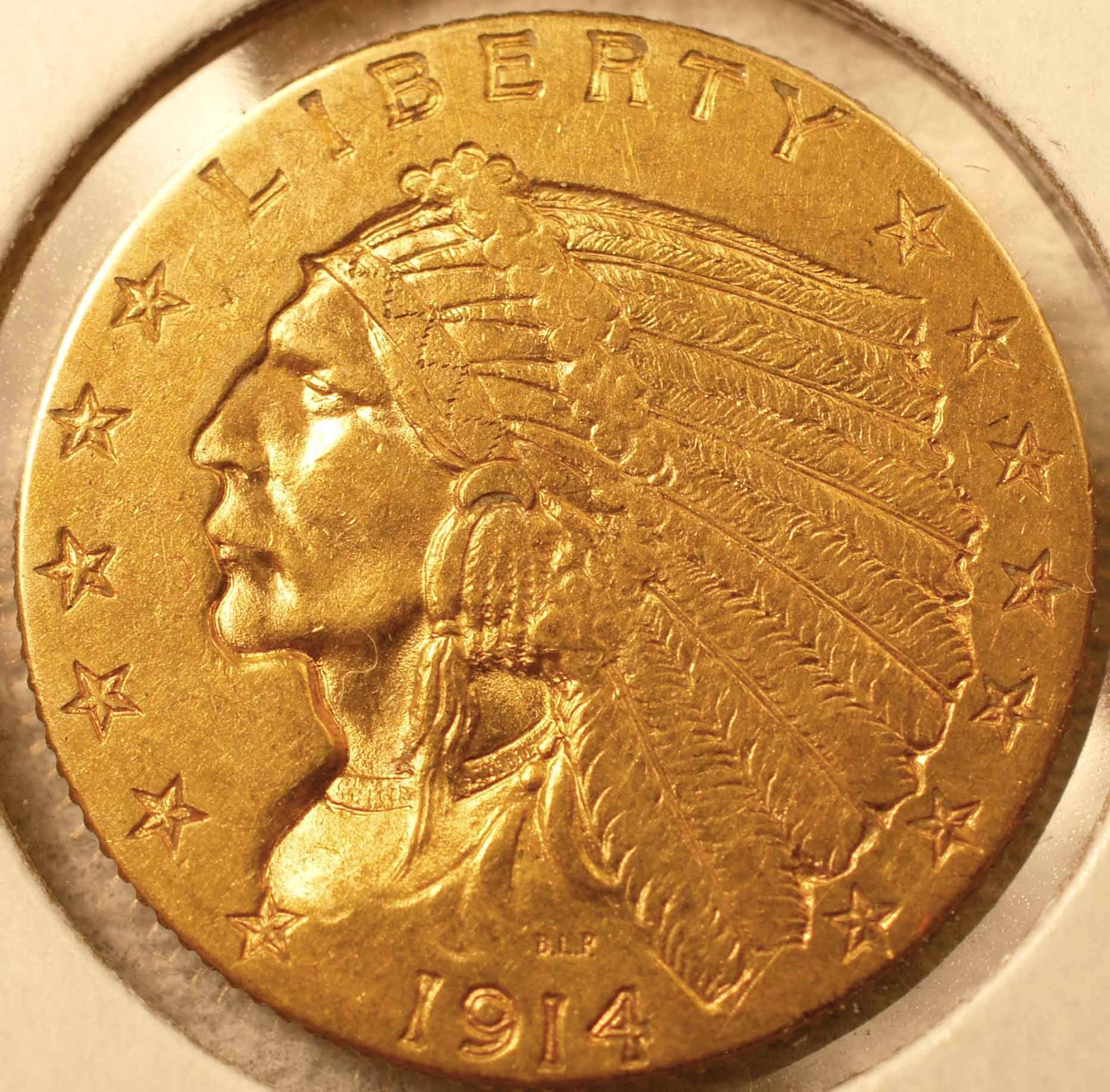 1914-D Gold Quarter Eagle Obverse