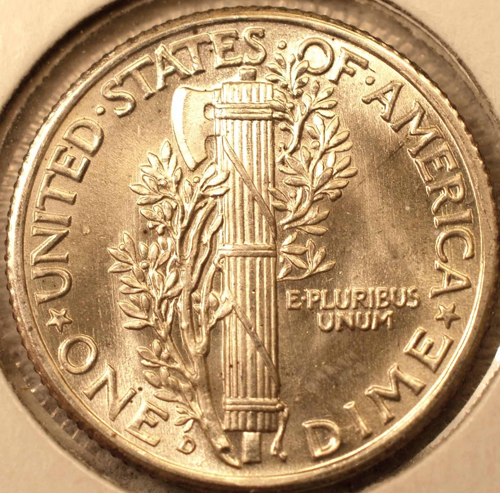 1939-D Mercury Dime, Gem BU FSB Reverse