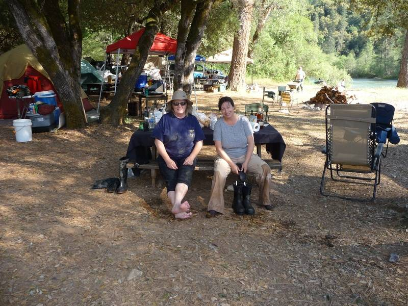 Couple of tired girls after gold prospecting
