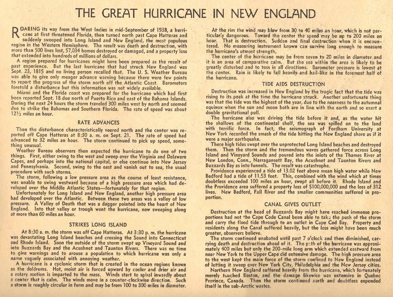 1938 Hurricane Historical Record / Inside rear Cover