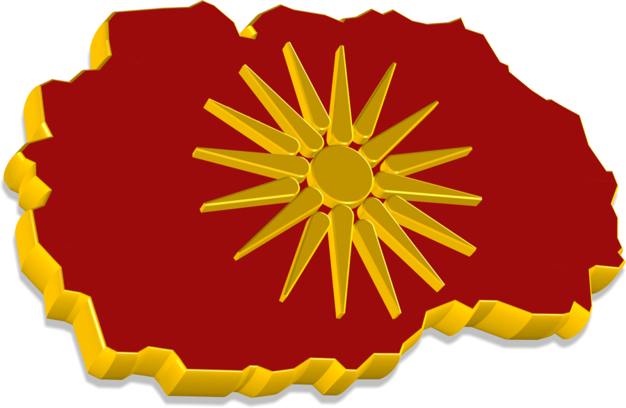 3D Macedonian Map & Flag