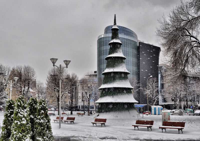 Snowy in Downtown Skopje