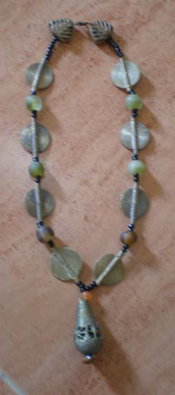 Brass and recycled glas beads