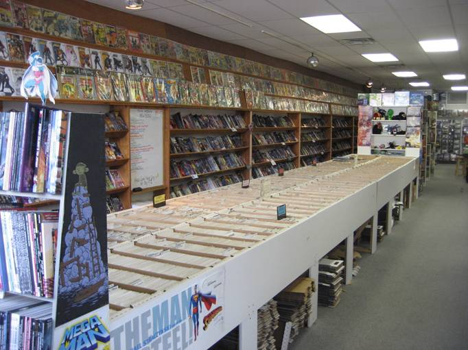 Comics wall and back issues