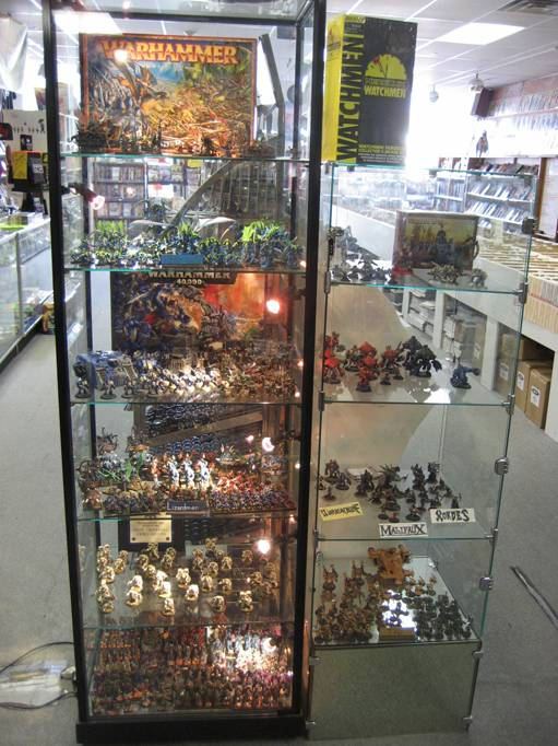 Display case of staff painted figures
