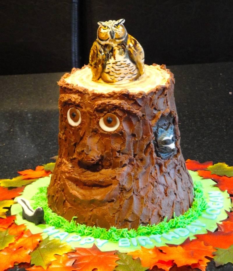Logan's 3D Tree Trunk cake