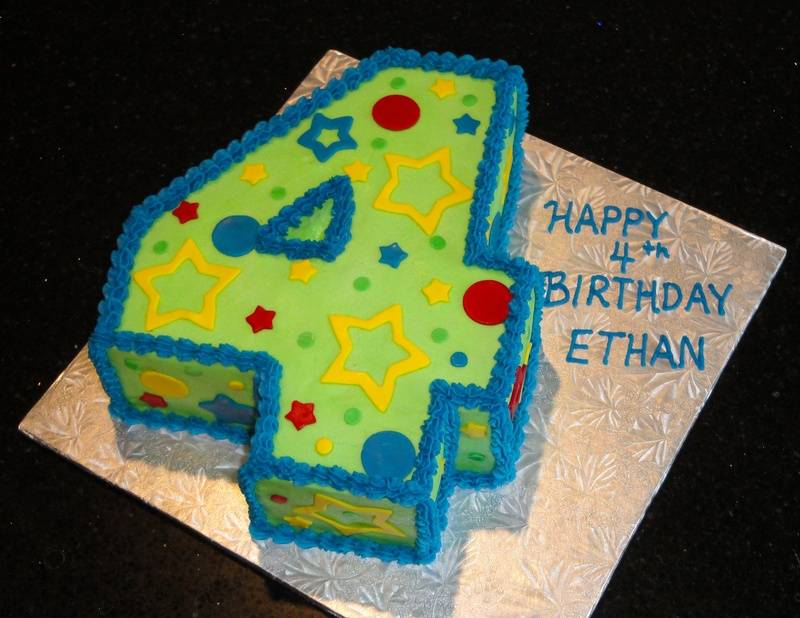 Big Number 4 Birthday Cake for Ethan