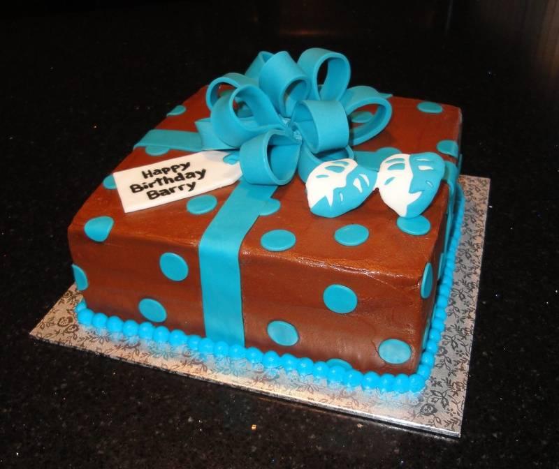 Chocolate & Blue Present Cake