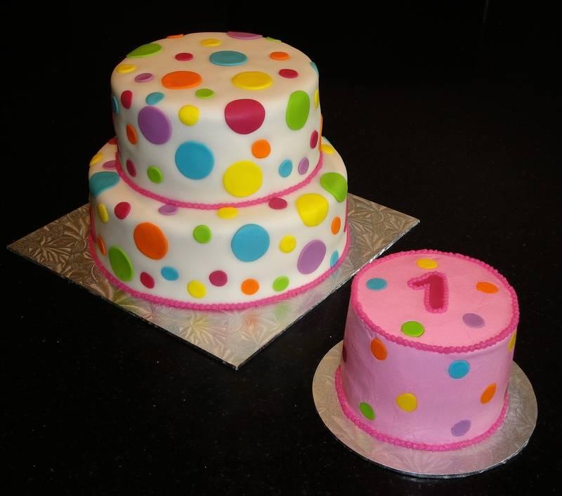 1st Birthday Polka Dot Cake & Smash Cake