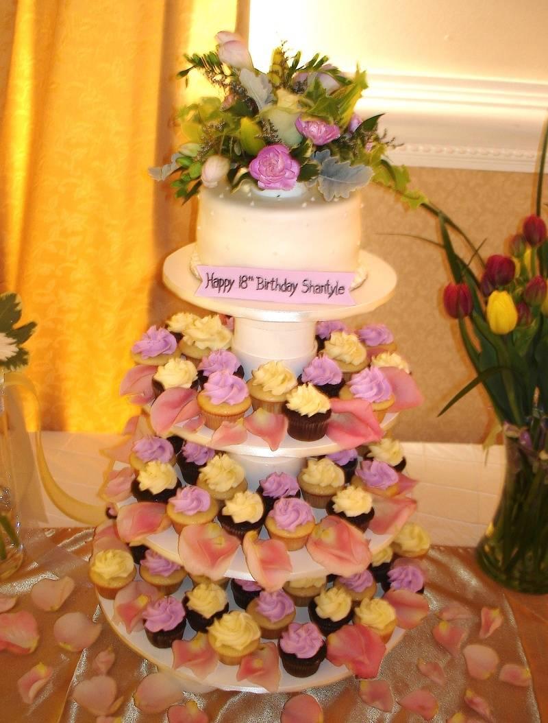 18th Birthday cake & mini cupcakes