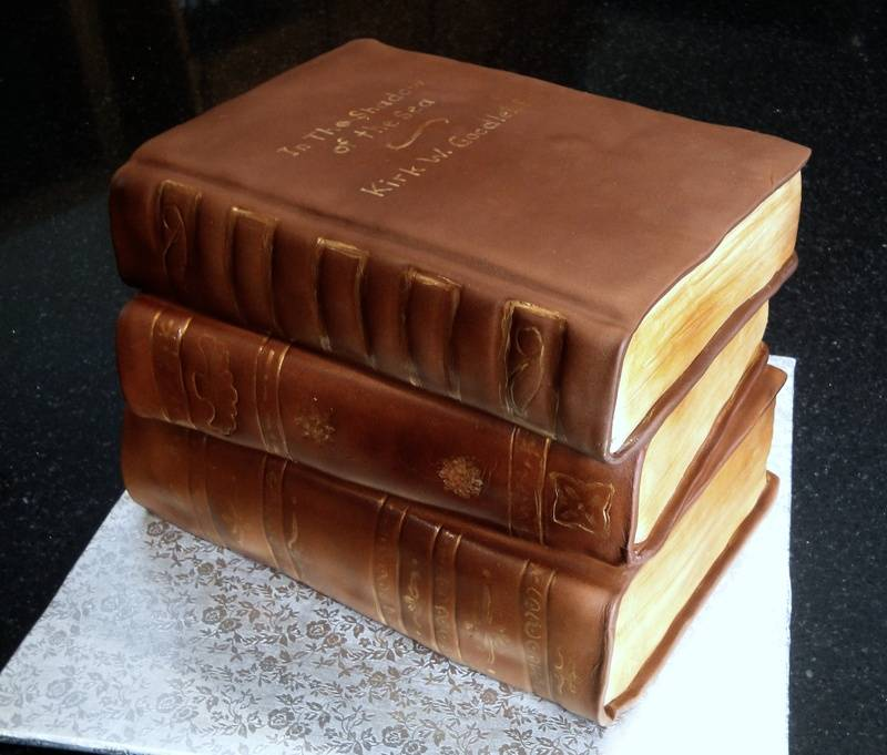 Stack of Vintage Books Cake