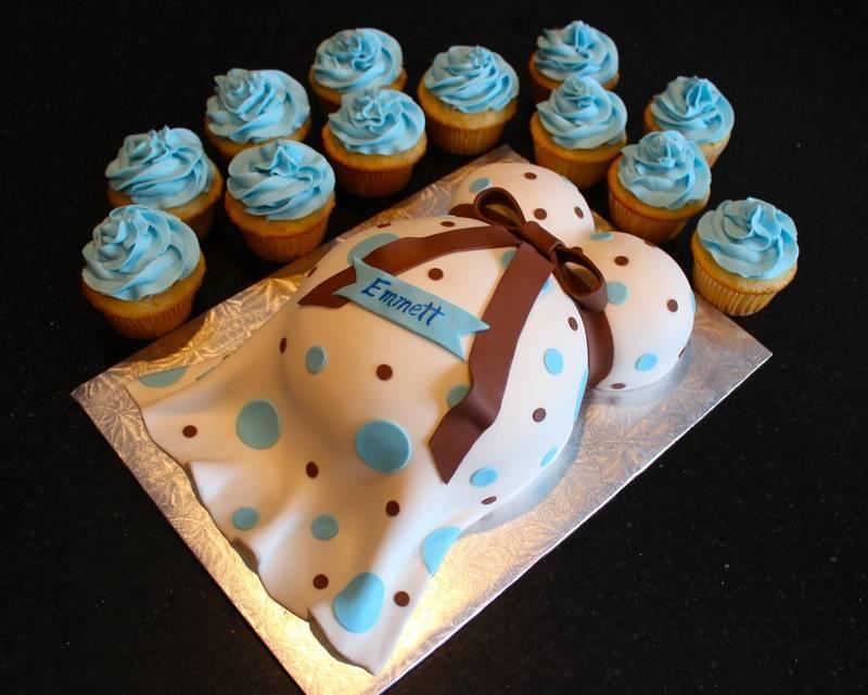 Mommy Tummy Baby Bump Cake & Cupcakes