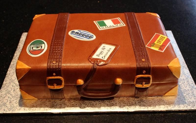 3D Suitcase 16th Birthday Cake