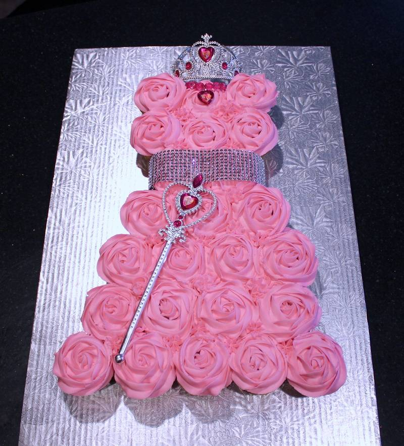 Princess Cupcake Dress 1st Birthday Cake