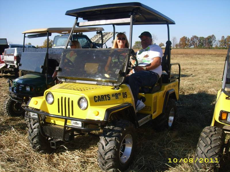Jim & Rosie on their new Jeep Cart