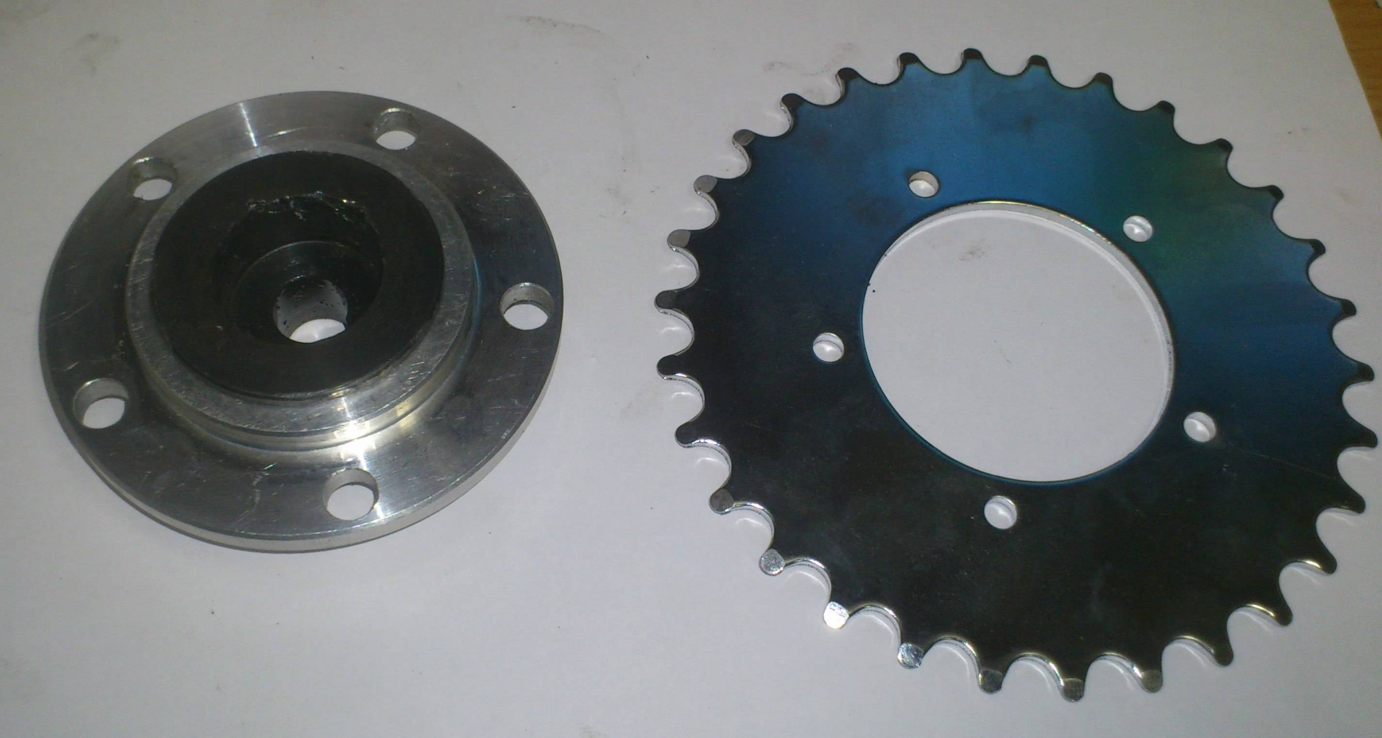 chain ring adapter with the original center nut scrwed