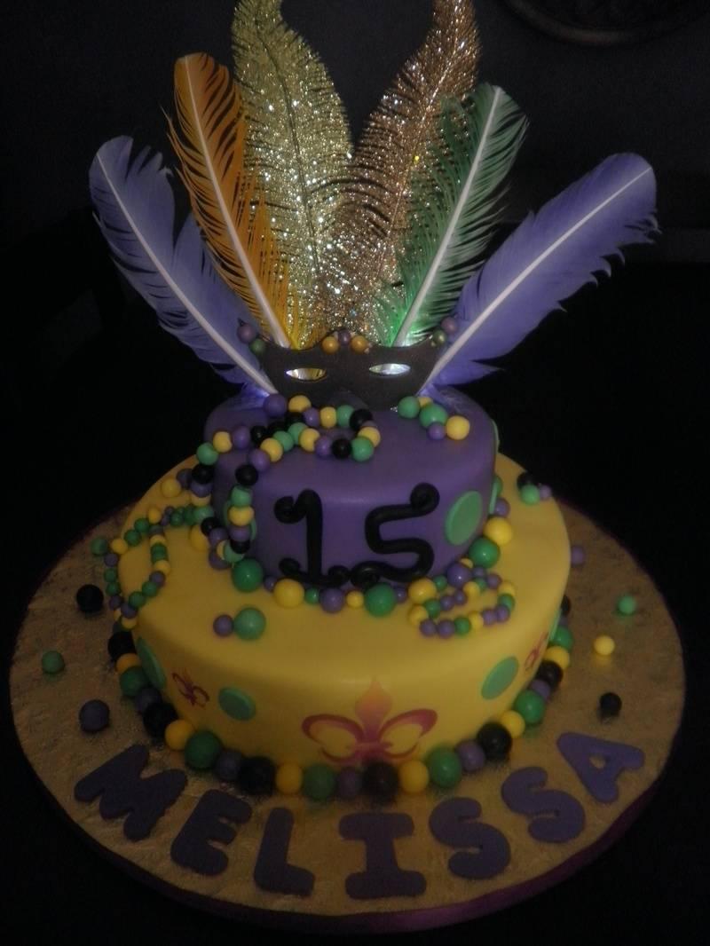 Mardi Gras 15's Cake