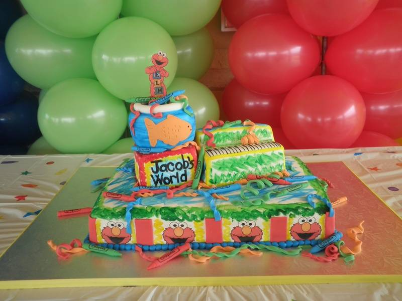 "Elmo ""scribbled"" Birthday Cake"