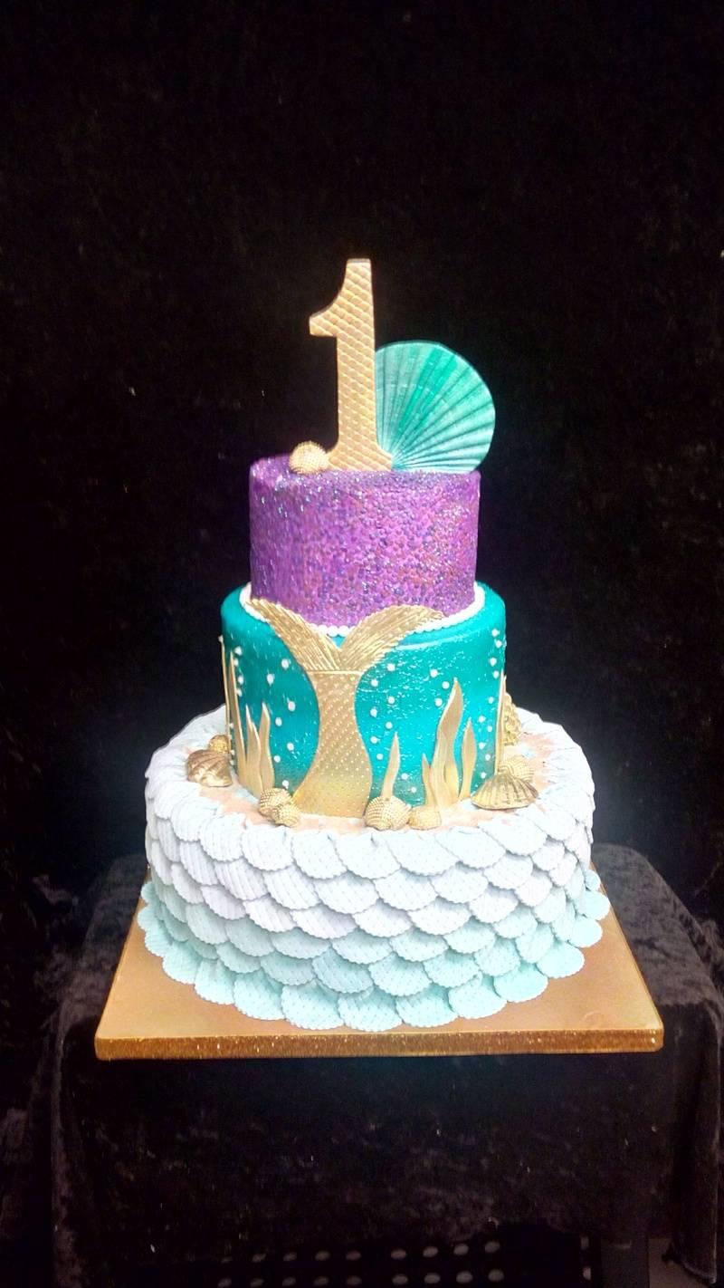 Mermaid 1st Birthday Cake