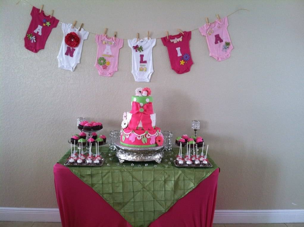 Pink, Neon Green Cake w/ Dessert Table