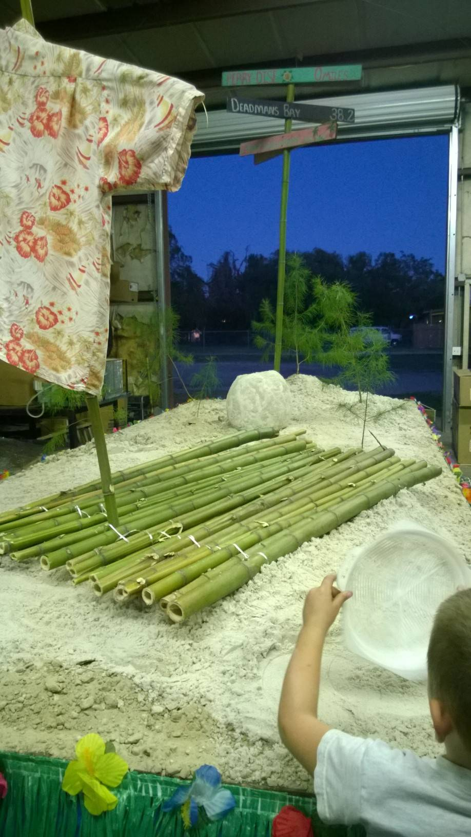 Our bamboo raft