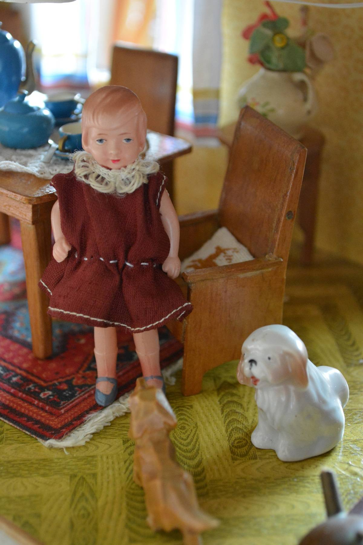 Minerva doll, from my stash, with two canine friends.