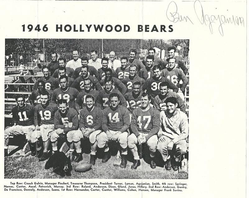 1946 Hollywood Bears team photo (PCFL)