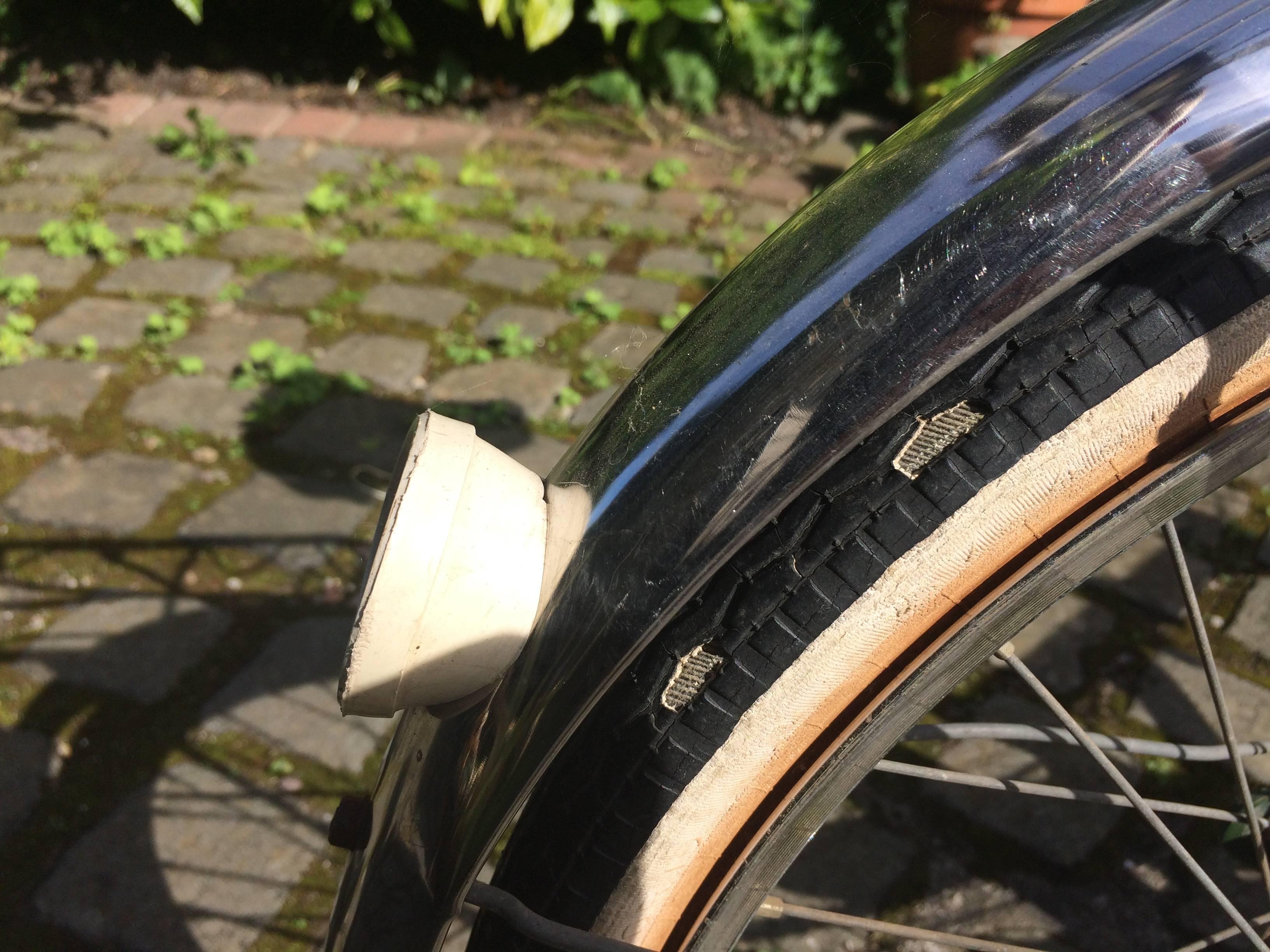 Delamination on rear tyre