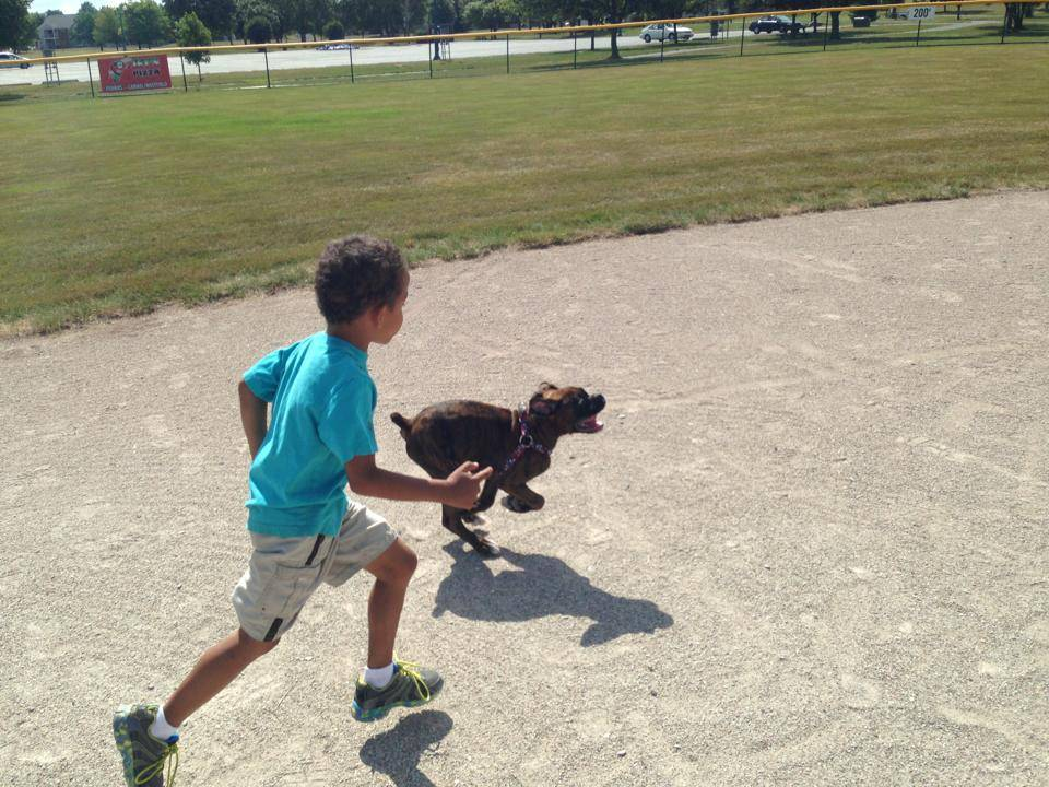 Running with his favorite boy!
