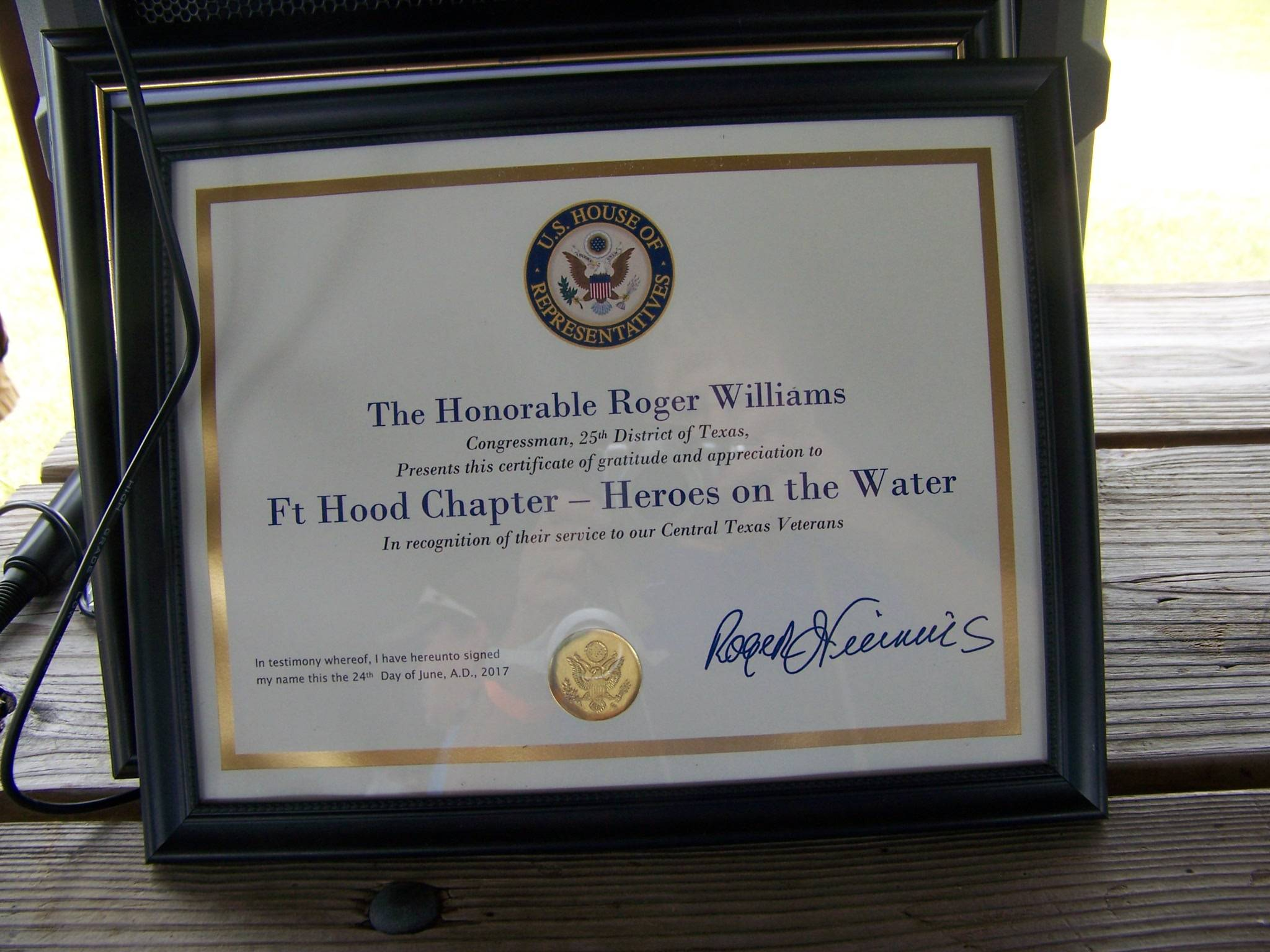 Certificate from Congressman Roger Williams