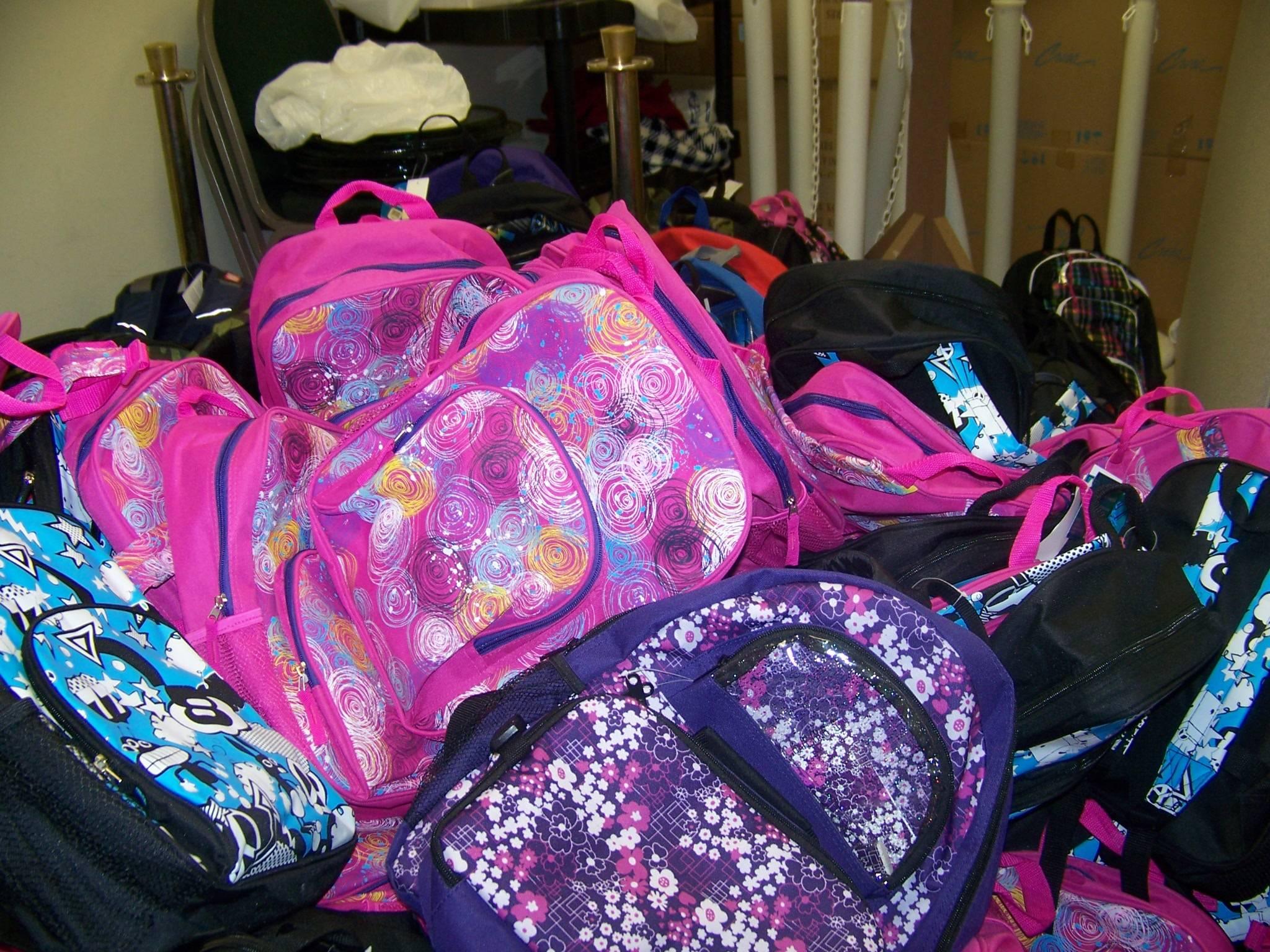 Mounds of backpacks