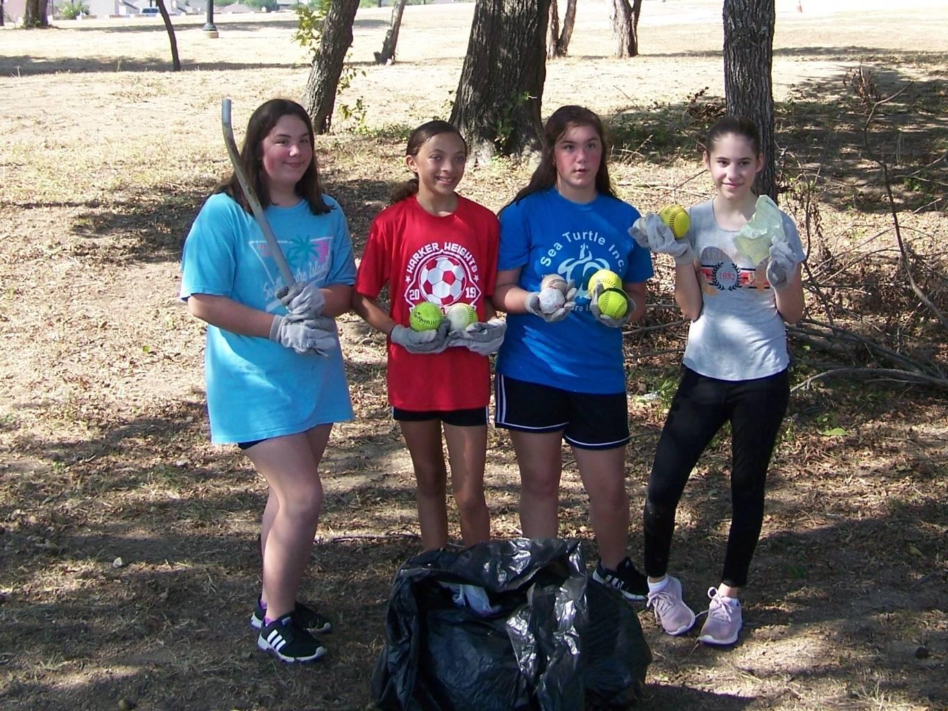 Lots of baseballs and softballs were found