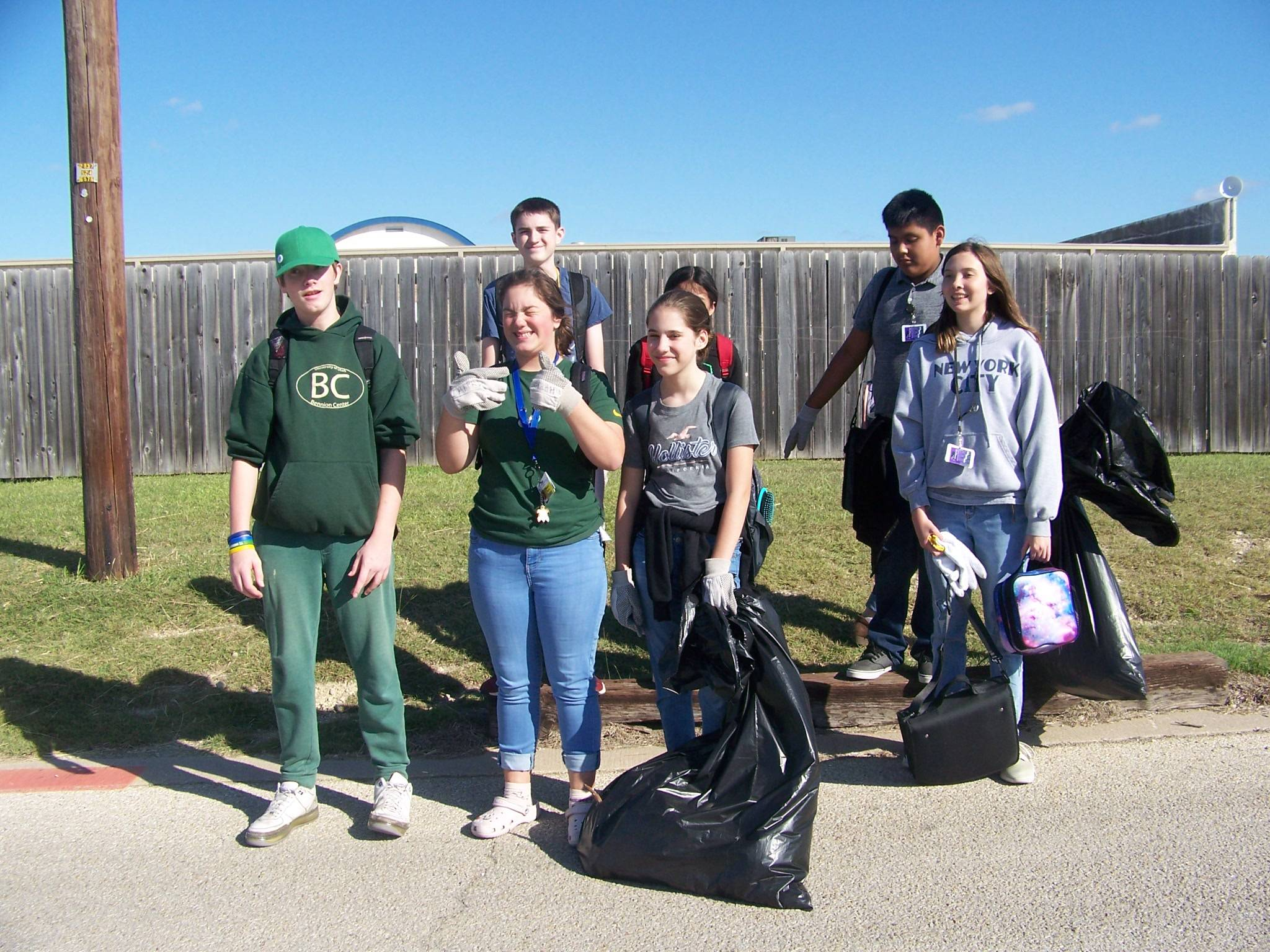 Trash pickup crew at EHMS grounds