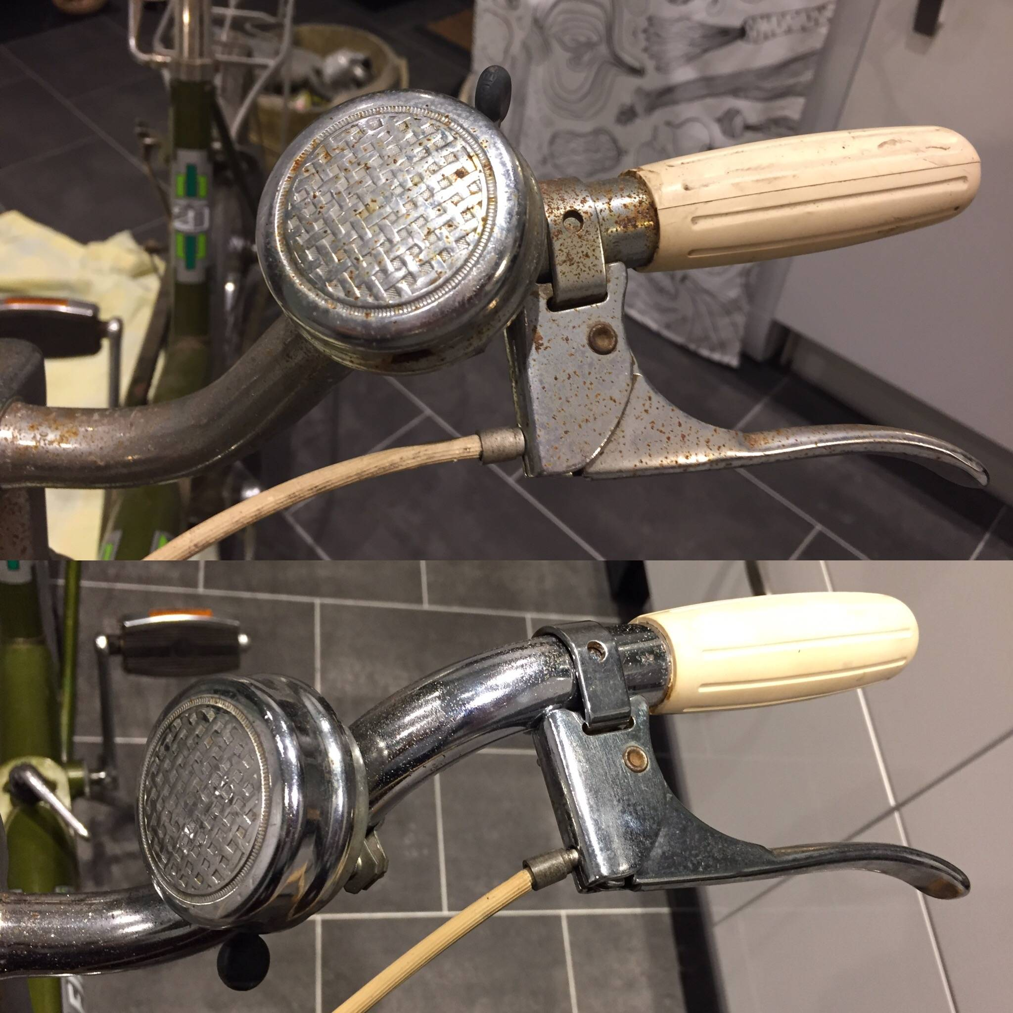 Stage 1 - Before and after handlebar & bell